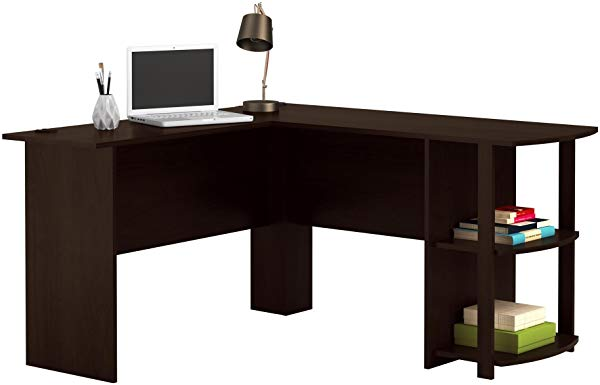 Ameriwood Home Office L-Shaped Desk with 2 Shelves