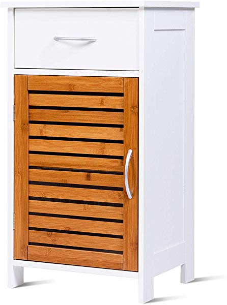 Tangkula Bathroom Floor Cabinet Storage Organizer